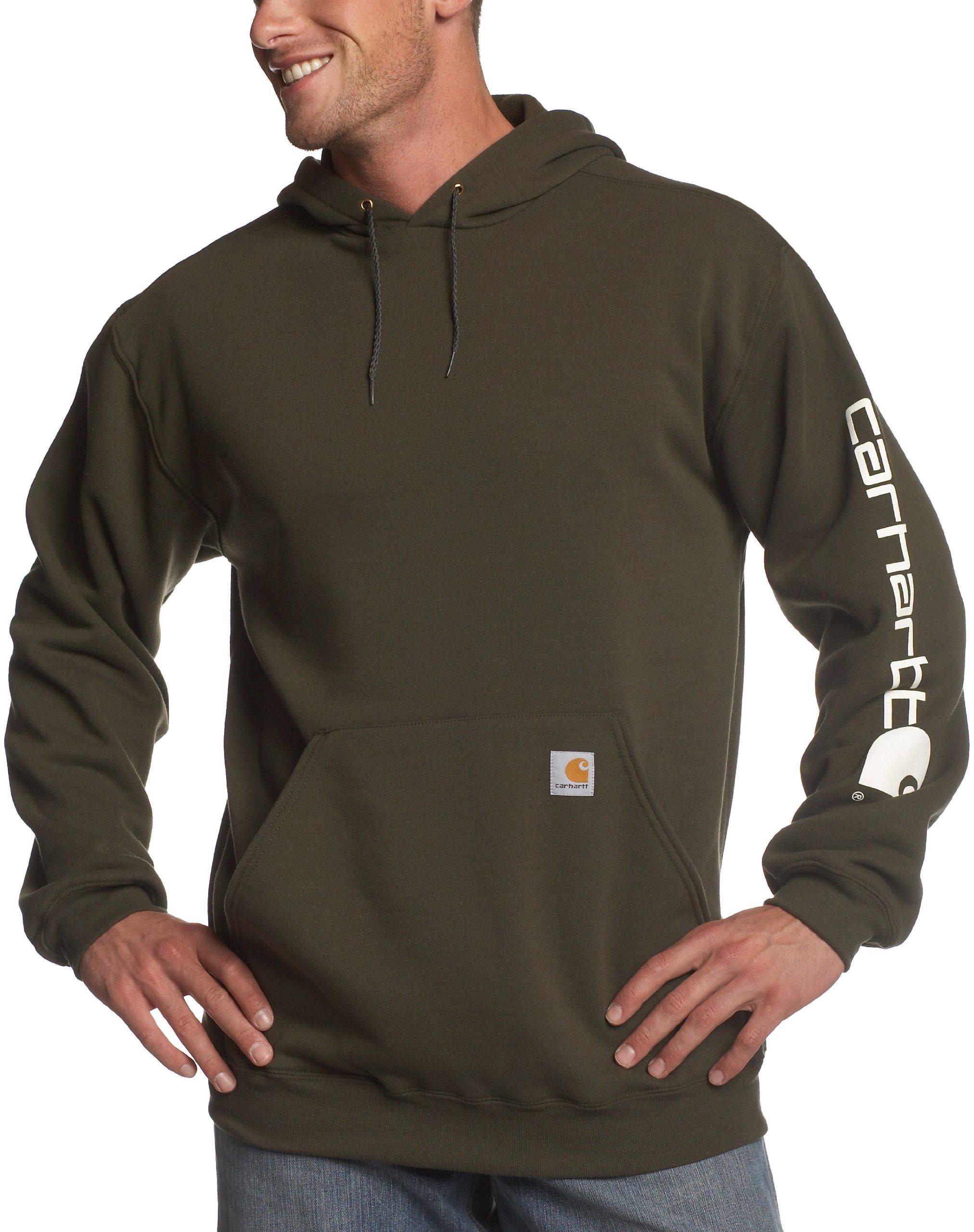 Carhartt Men's Midweight Sleeve Logo Hooded Sweatshirt,Olive  (Closeout),3X-Large