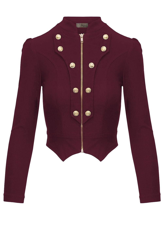 HyBrid & Company Women's Military Crop Stretch Gold Zip Up Blazer Jacket
