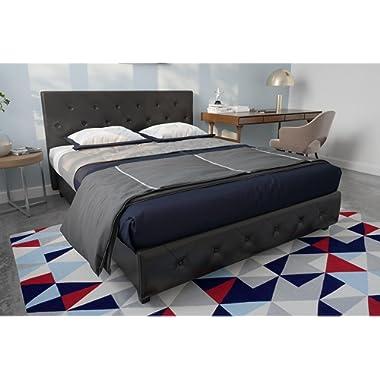DHP Dakota Faux Leather Upholstered Platform Bed Frame Signature Sleep Memoir 10-Inch Memory Foam Mattress Set, Black, Queen