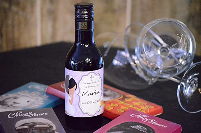Botella personalizada vino regalo para comunión niña (pack de 12 botellas)