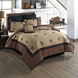 Donna Sharp Full/Queen Quilt - Forth Worth Contemporary Quilt with Embossed Star Pattern - Fits Queen Size and Full Size Beds - Machine Washable