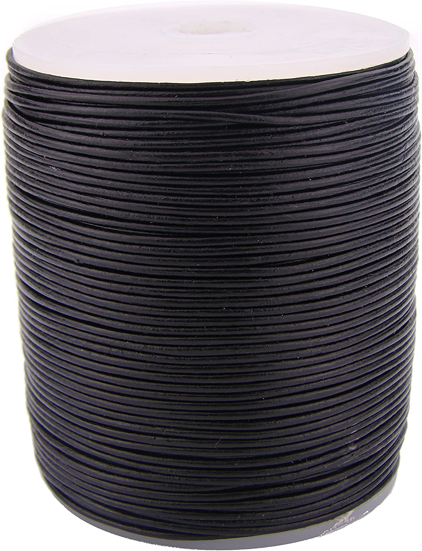 piel Piel cuerda redonda 1/mm negro Longitud a Elegir. 5 m