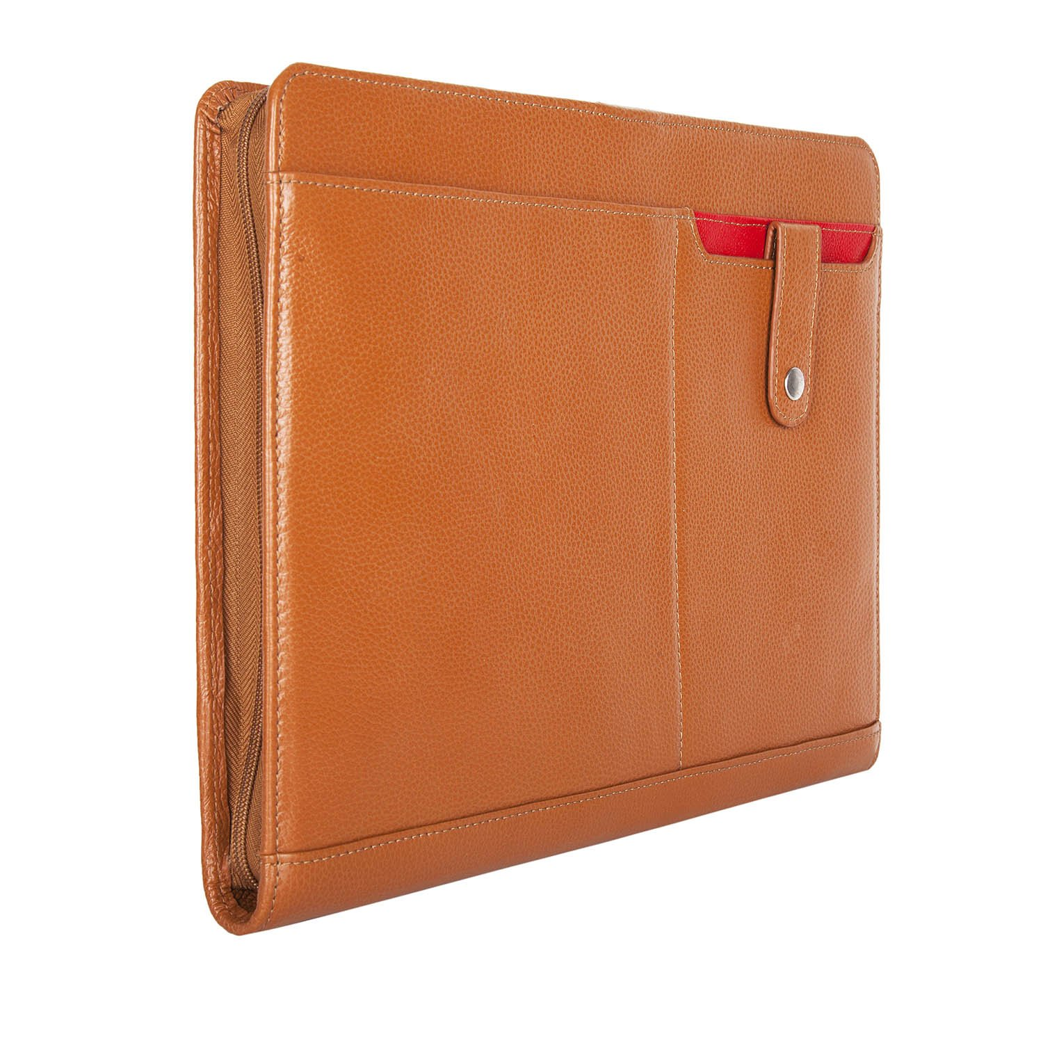 Cow Leather Portfolio Cowhide Handmade Padfolio Zippered Briefcase Genuine Full Litchi Grain Leather Organizer Pad Business Card Holder Case A4 Note Folder for Custom Made (Brown)