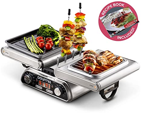 Kbabe Holzkohlegrill Test : Amazon.com: gourmia gdg1900 digital dual indoor grill folds for