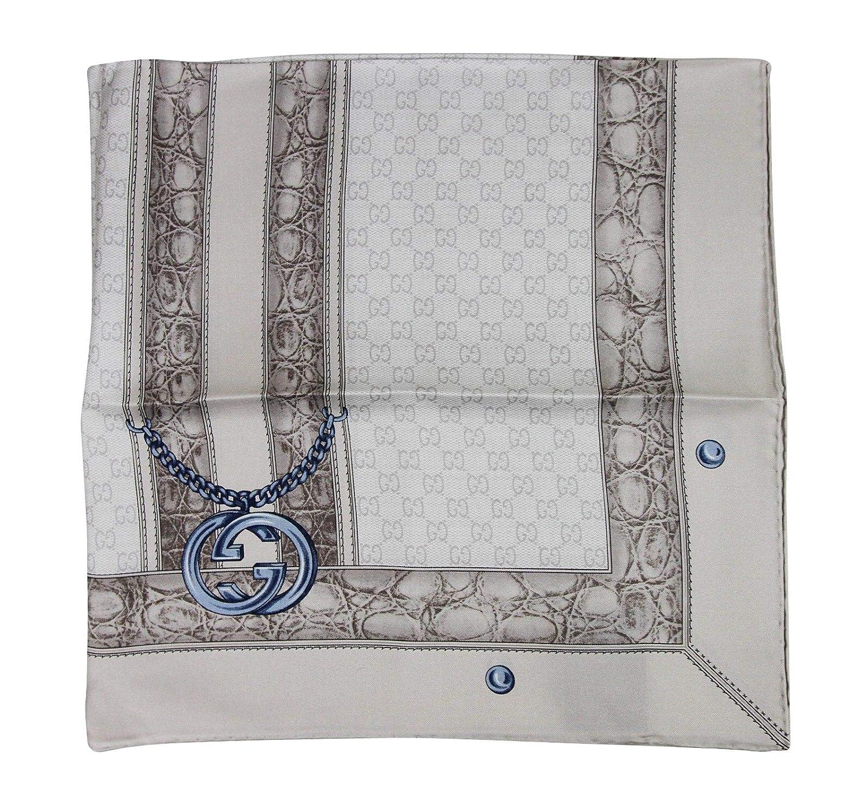 a25eea6430e Gucci Women s Blue Interlocking Chain Print Multicolor Silk Twill Scarf  327374 1969  Amazon.ca  Clothing   Accessories