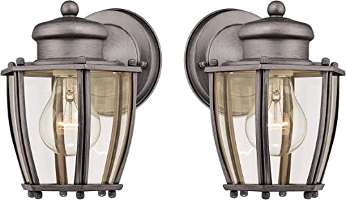 Westinghouse One-Light, Antique Silver Finish with Clear Curved Glass Outdoor Wall Fixture Antique Silver 2 Pack