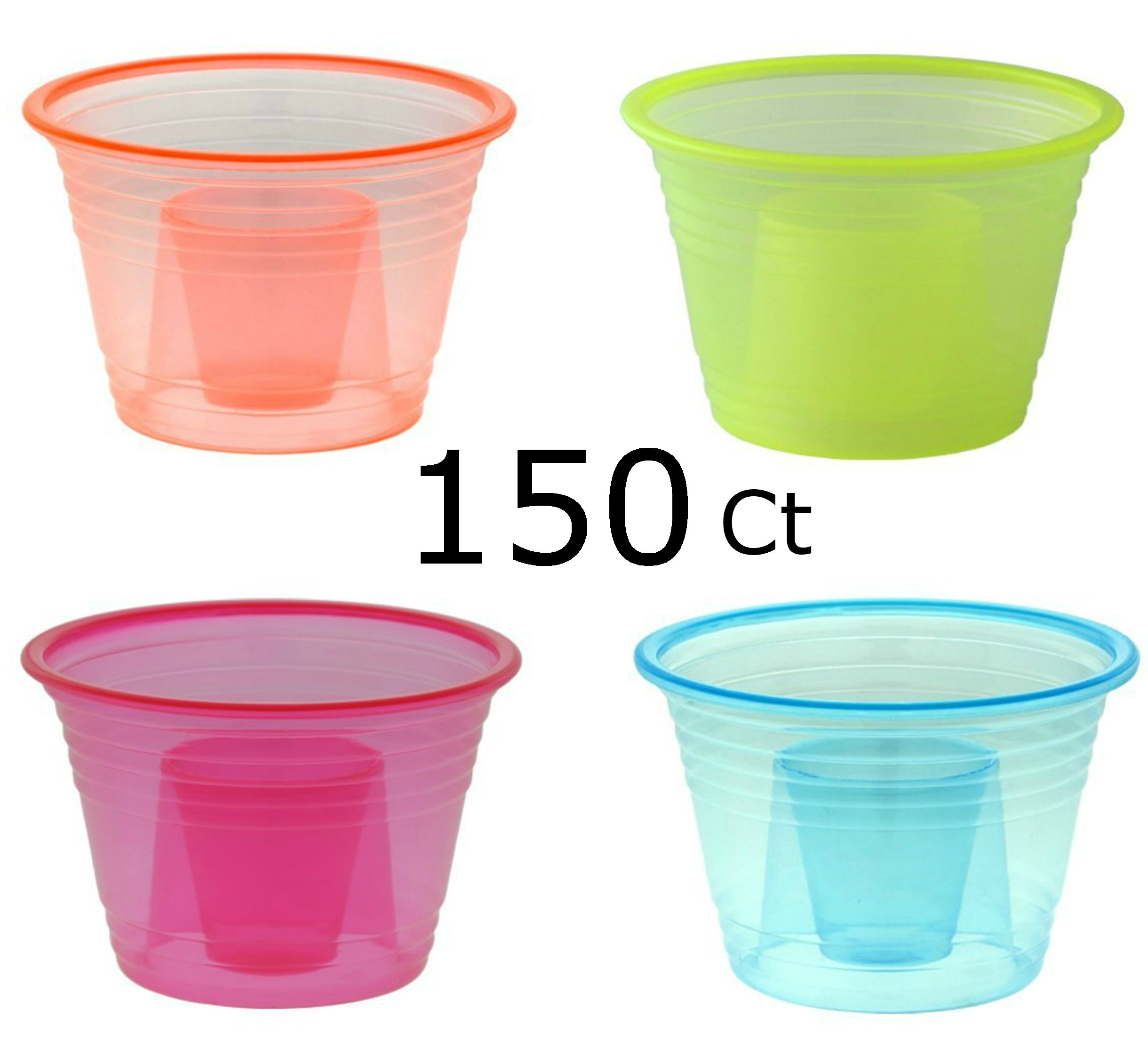 Zappy 150 Assorted Neon Colors Disposable Plastic Party Bomber Power Bomber Jager Bomb Cups Shot Glass Glasses Shot Cup Cups Jager bomb glasses 150 Ct Assorted Colors