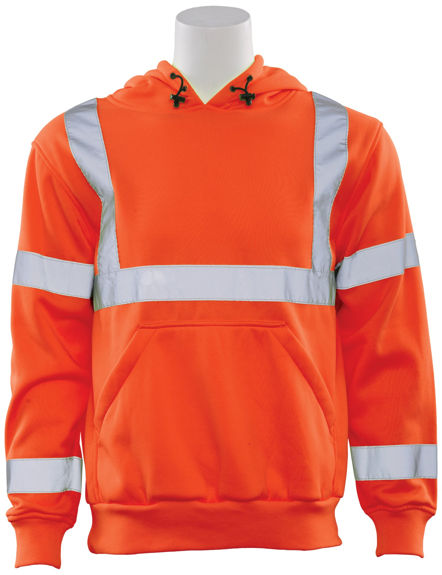 ERB 62236 W376 Aware Wear Class 3 Hooded Pullover Sweatshirt, Orange, Large