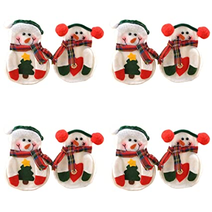 oliadesign snowman 8 piece christmas dinner flatware holder white - Christmas Silverware Holders