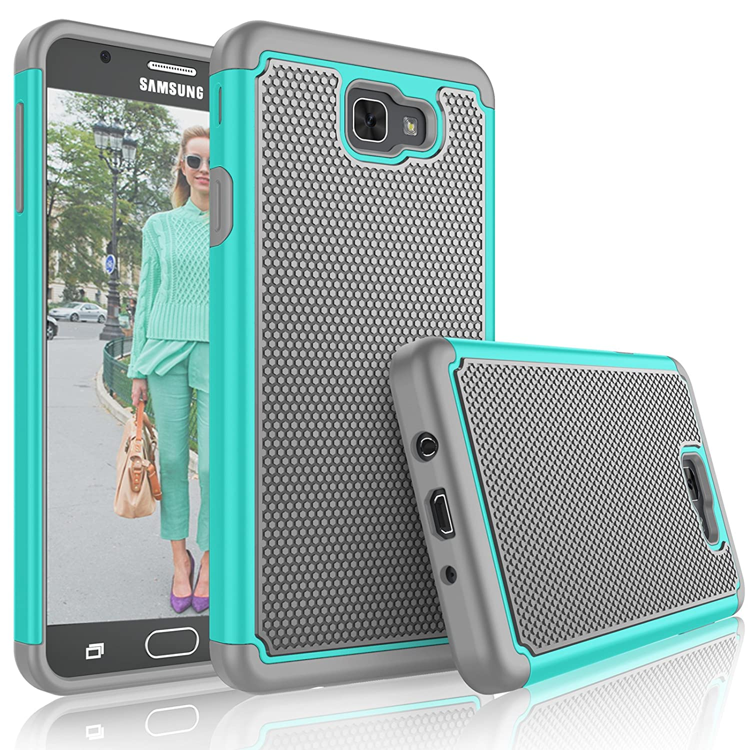 newest 462c5 98d05 Tekcoo for Galaxy J7 Sky Pro Case/for Galaxy J7 V/J7V/J7 Perx Cute Case,  [Tmajor] Shock Absorbing [Turquoise] Rubber Plastic Scratch Resistant ...