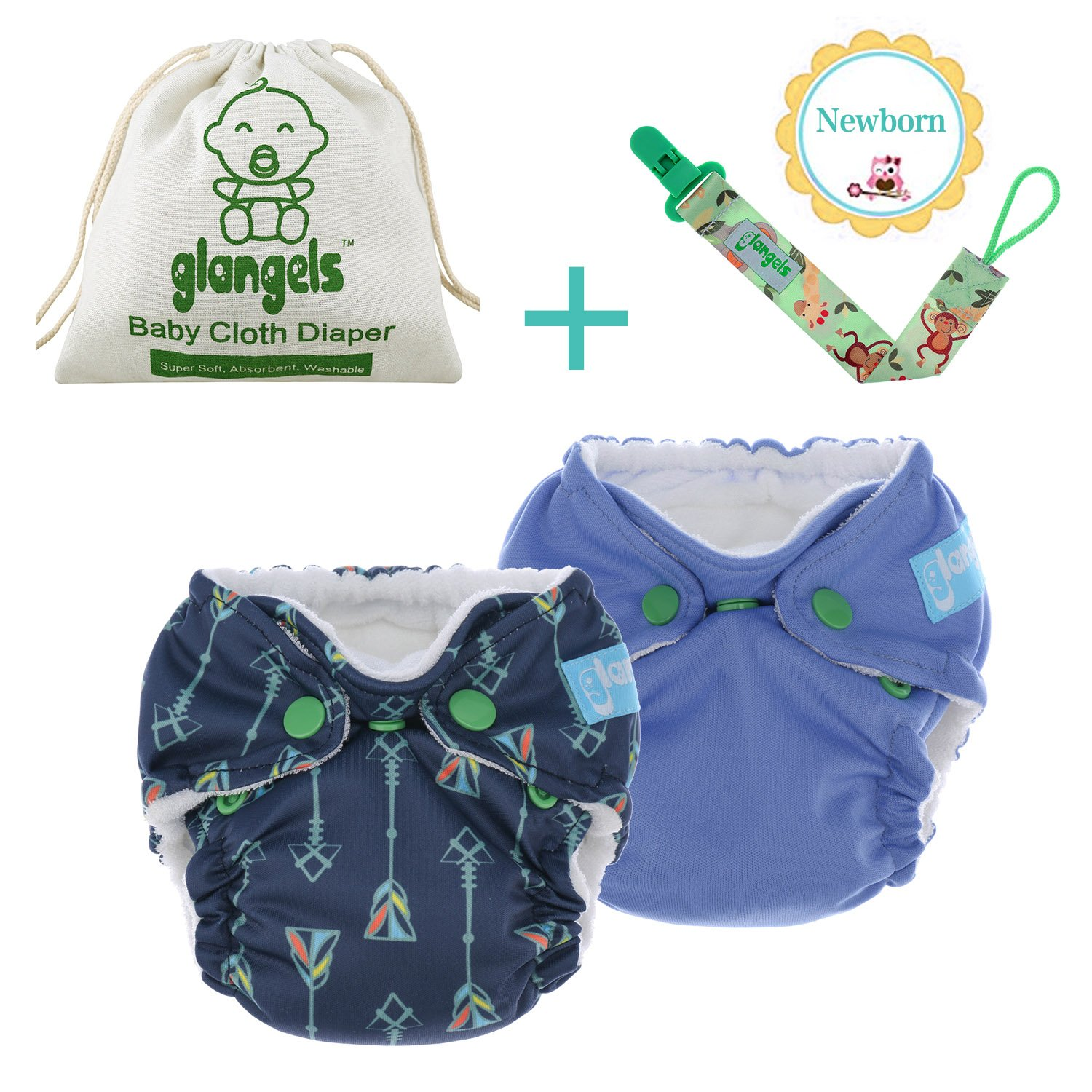 2 PCs Premium Organic Baby Reusable Cloth Diapers –For Newborn & Preemie–Breathable W/Waterproof Cover –Bonus Pacifier Clip –Perfect Baby Shower Gift (Arrow 2PCs) Glangels