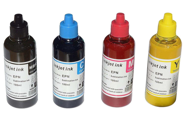 baaf1f1b8ae1b Dye Sublimation Ink Compatible with Epson 100ml x 4 Black Cyan Magenta  Yellow