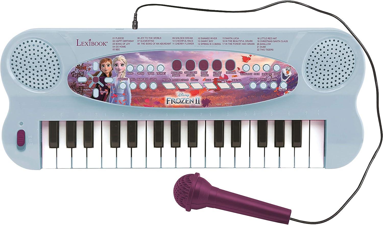 LEXIBOOK Teclado electrónico Frozen 2 Elsa Anna Olaf, piano de 32 teclas, Micrófono para cantar, 22 canciones de demostración, operado con batería, ...