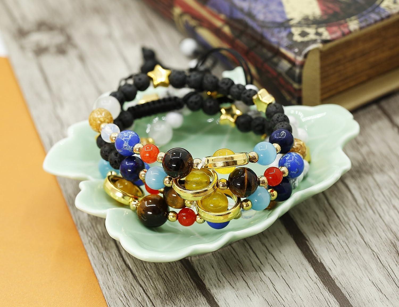 Milacolato 4Pcs Solar System Nine Planets Universe Galaxy Bracelet Beads Couple Diffuser Bracelets for Women Girl Gift Adjustable B07FVHZN94_US