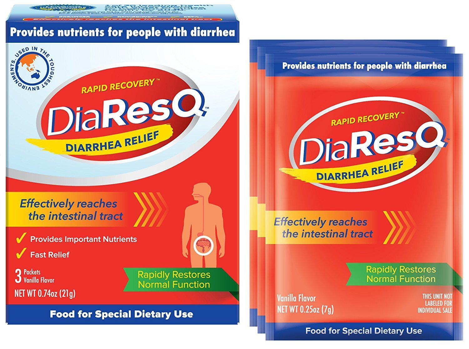 DiaResQ Rapid Recovery Diarrhea Relief - 3 Packets, Pack of 2