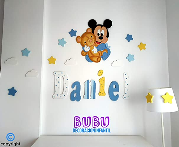 Conjunto Silueta infantil Mickey con osito y Nombre en ...