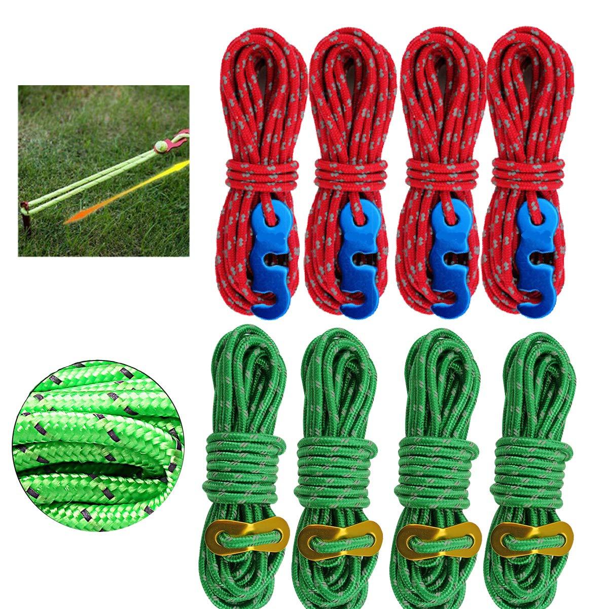 4M dancepandas Reflexiva Cuerdas Vientos Tensores 8PCS 4mm Cerdas de Tienda de Campa/ña con Ajustador de Cuerda Cuerda Nylon Rojo Verde Cuerdas Tensoras para Tiendas de Campa/ña Toldo al Aire Libre