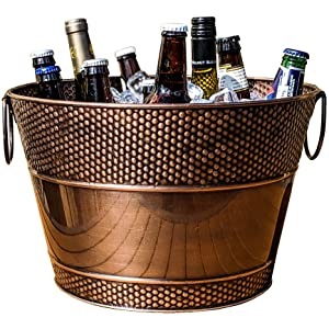 BREKX Old Tavern Copper Finish Beverage Bucket & Wine Chiller