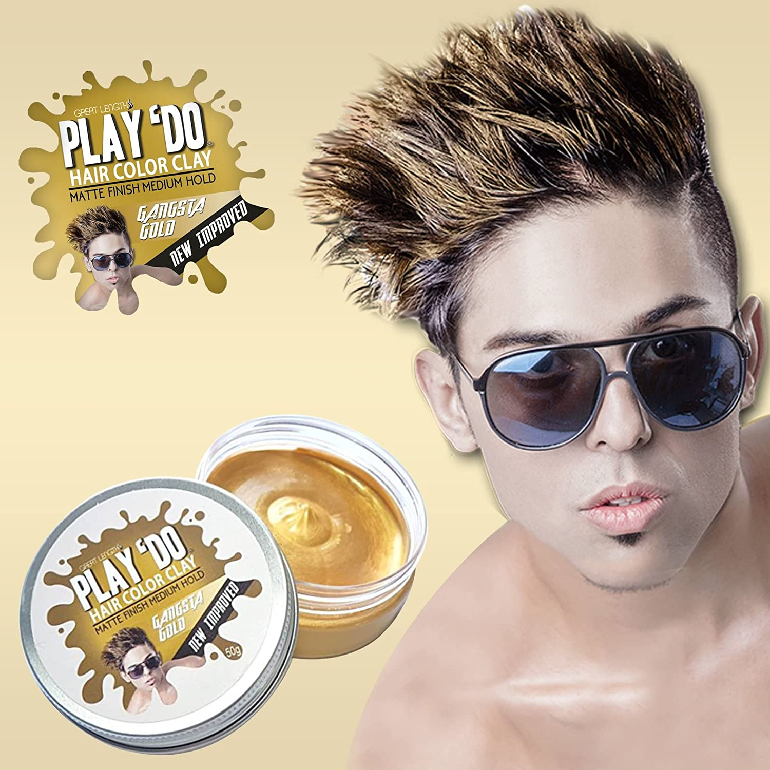 Play 'Do Temporary Hair Color, Hair Wax, Hair Clay, Mens Grooming, Gold hair dye(1.8 ounces) China