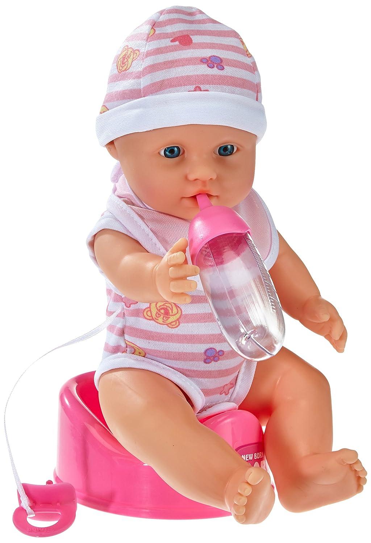 Simba 105037800 - New Born Baby, mit Trink und Nässfunktion Babypuppe, rosa Simba Toys Puppen / Spielsets Spielpuppen Vinylpuppen