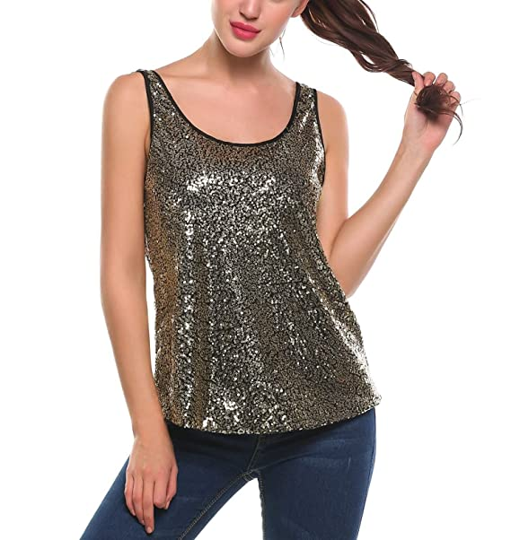 6b5c19e59a2f67 Zeagoo Women s Sequin Tank Top Shimmer Glam Camisole Sparkle Loose Tank Vest