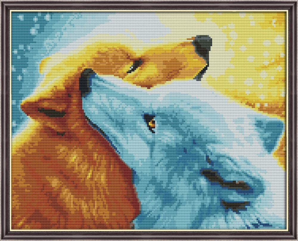 YEESAM ART Cross Stitch Kits Stamped for Adults Beginner Kids, Snow Wolf Fox Love 11CT 50×41cm DIY Embroidery Needlework Kit with Easy Funny Preprinted Patterns Needlepoint Christmas (Wolf)