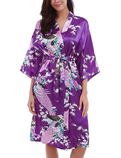 Unbranded Kimono Mujer Batas Cortos Lenceria Pavo & Flores Camisón Sexy Pijama Vestido