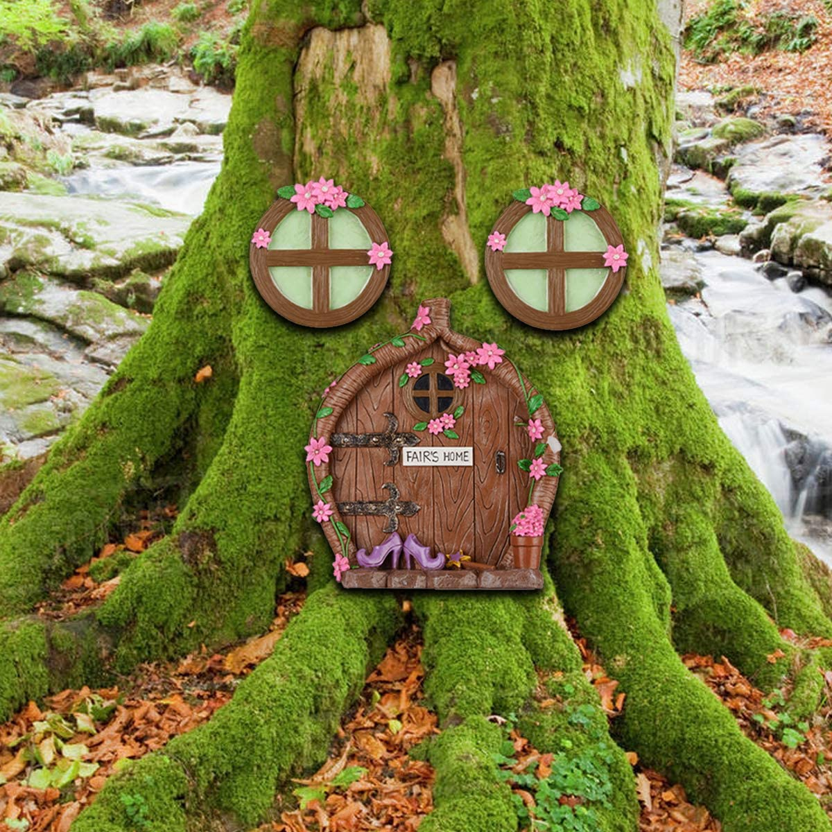 Robkea Miniature Fairy Gnome Home Window and Door for Trees - Garden Sculpture Decoration - Tree Decorations Yard Art