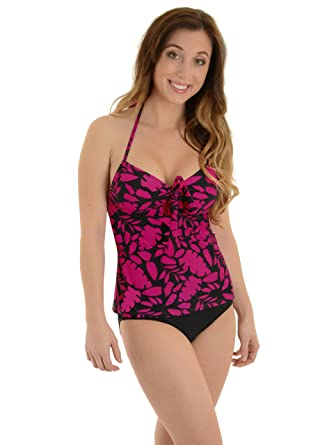 54e917fd6dc40 Caribbean Women's Tankini Swimsuit Halter 2 Piece Set Hot Pink and Black  Print Sizes: Small