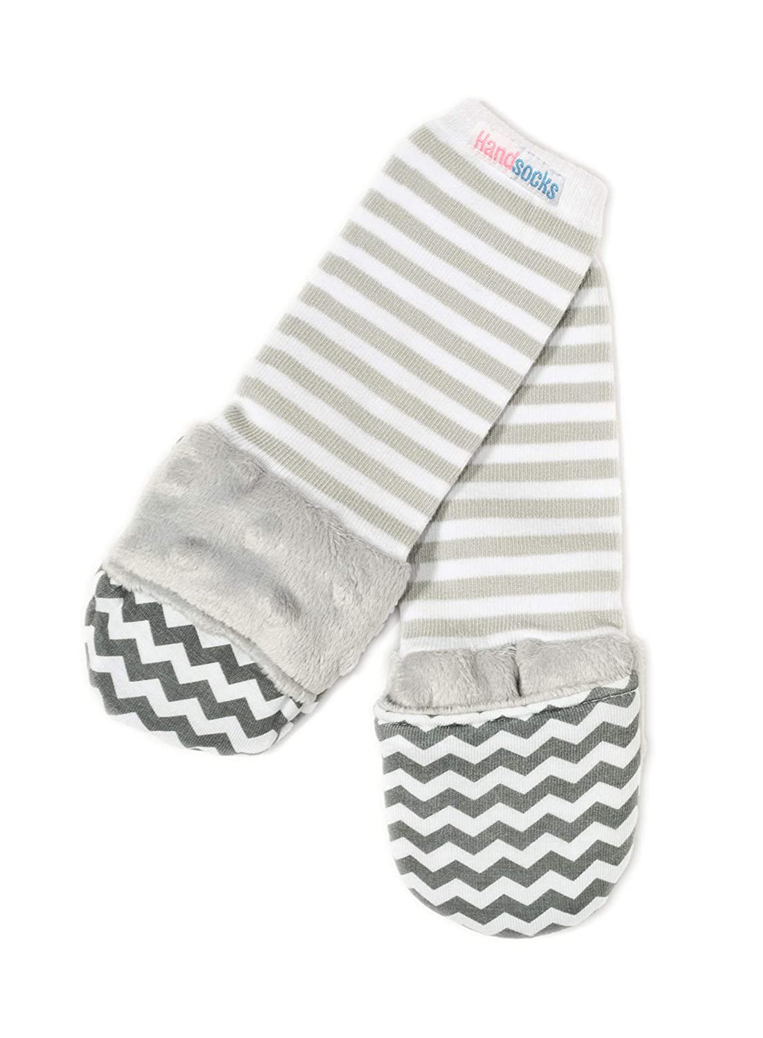 Handsocks Plushy Stay On Strap-Free No-Scratch & Warmth Mittens (Large (Toddler), Elodie (Grey Chevron))