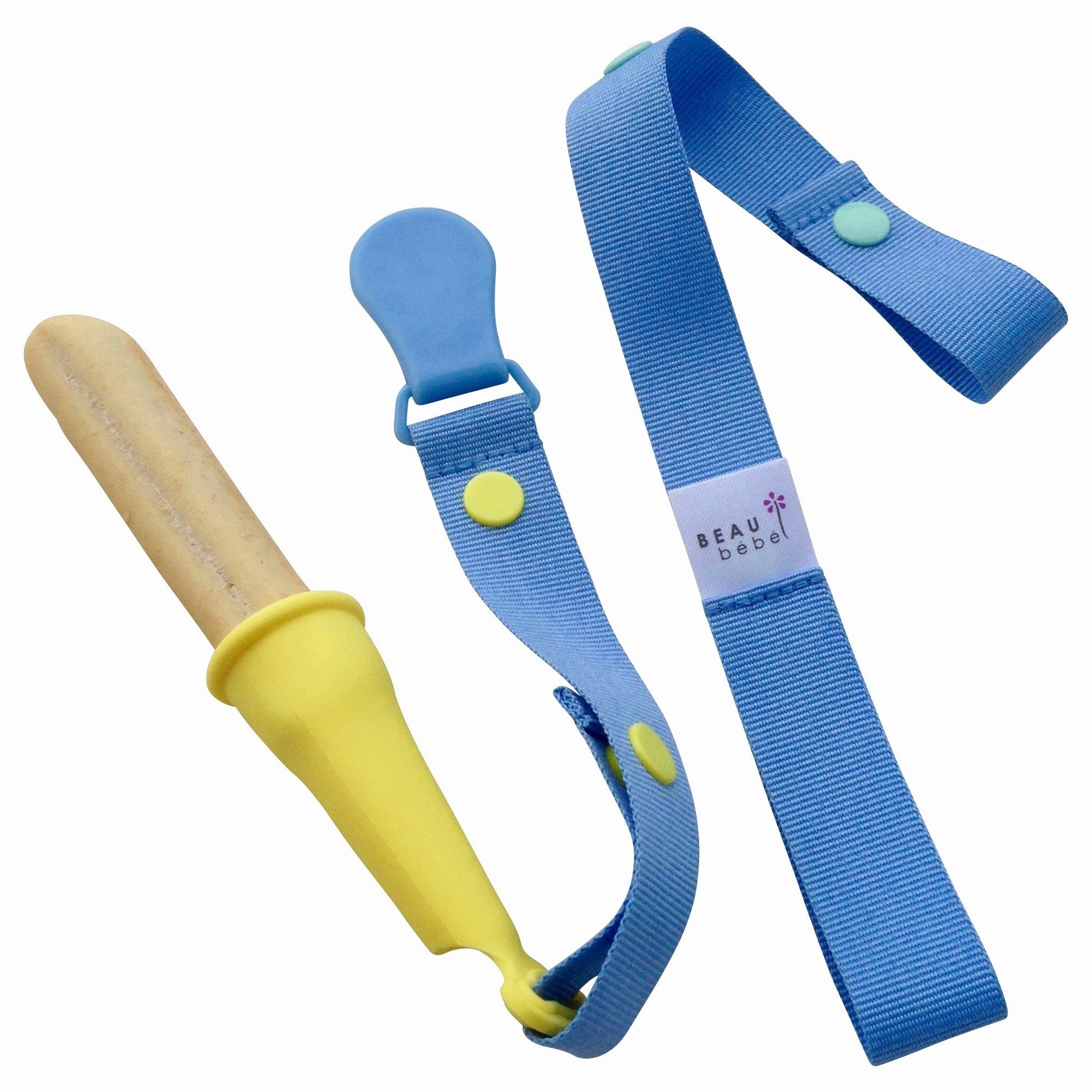 NEW | Oopsy Doopsy! | Multi-functional Teether & Toy Saver, Pacifier Clip | Holds Rusks, Spoons, Sippy-cup, Rattle | Baby Gift | 0-18 Months (Blue/Banana) by Beau Bébé