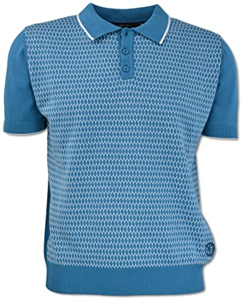 Carlo Colucci Poloshirt Aus 100% Baumwolle, Blau Gemustert Hellblau M