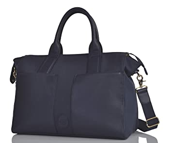 3d2e973ce15b9 PacaPod Croyde Navy Designer Baby Changing Bag - Luxury Canvas and Faux  Leather Tote 4 in
