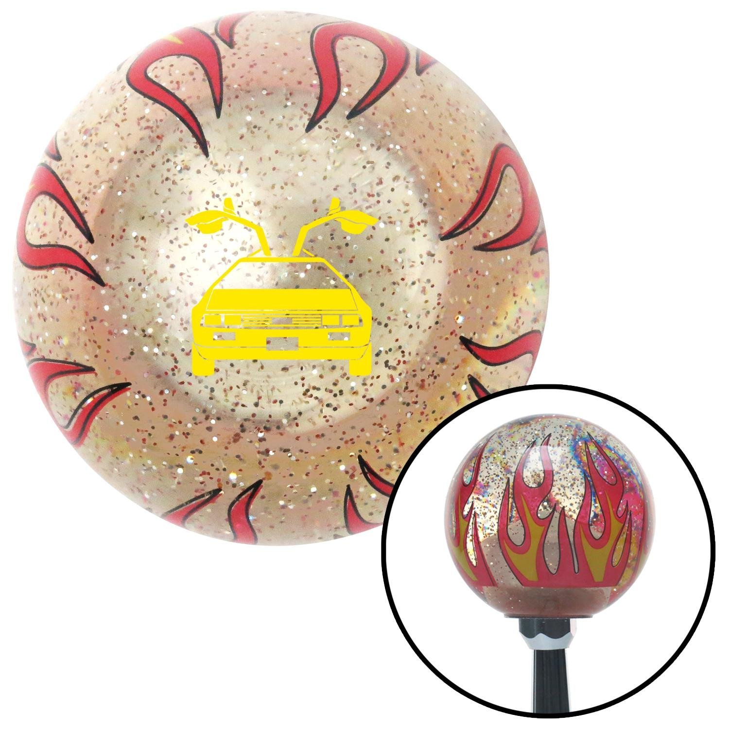Yellow Delorean Clear Flame Metal Flake with M16 x 1.5 Insert American Shifter 295701 Shift Knob