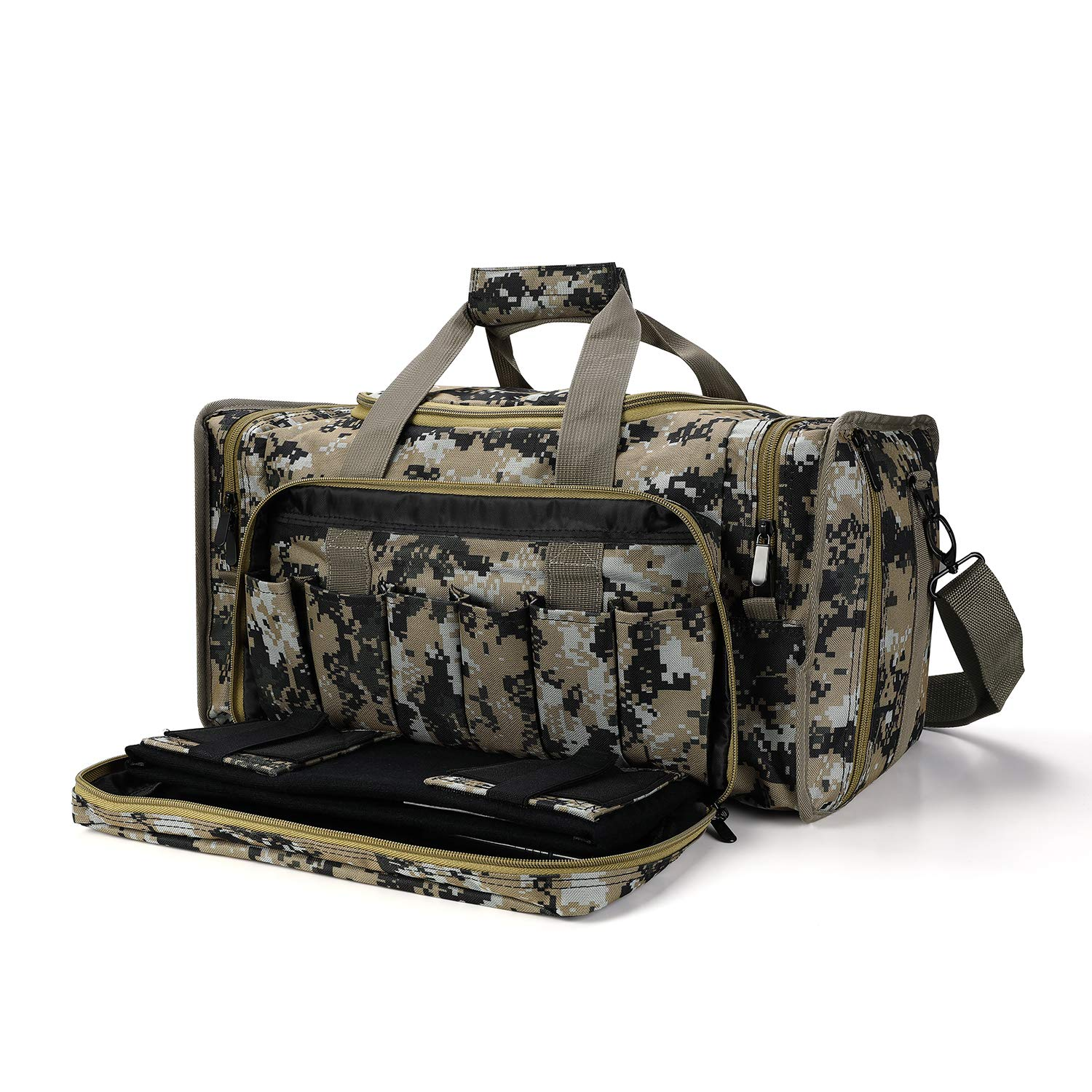 SoarOwl Tactical Gun Range Bag Shooting Duffle Bags for Handguns Pistols with Lockable Zipper and Heavy Duty Antiskid Feet (Camouflage) by SoarOwl