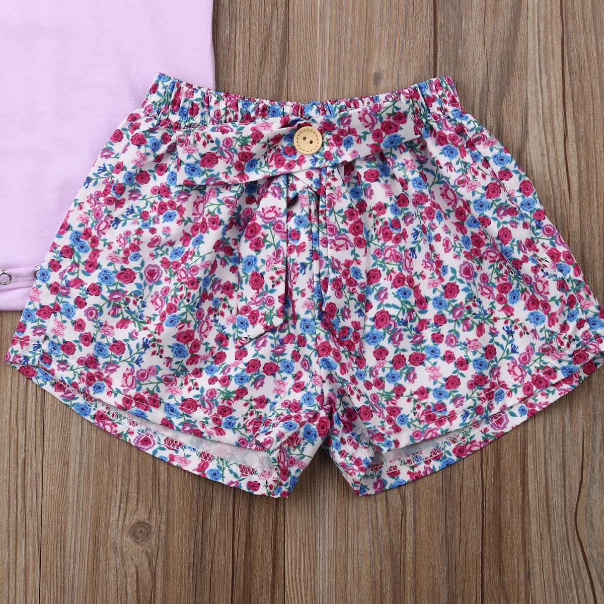 Headband 3PCS Outfit Set Shorts Pants Newborn Baby Girl Romper Jumpsuit Bodysuit