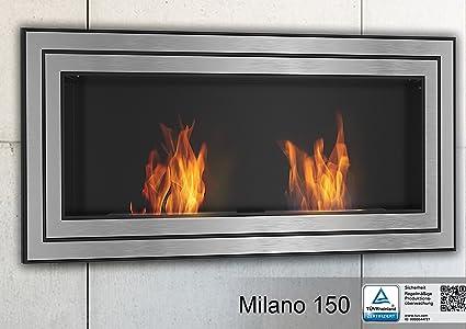 Chimenea de bioetanol Milano 150 combustible chimenea de pared con sistema de seguridad en acero inoxidable