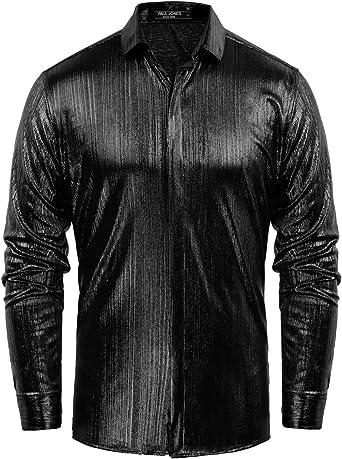 PJ PAUL JONES Camisa de Vestir para Baile de graduación, Color sólido, Satinado, Brillante, Seda