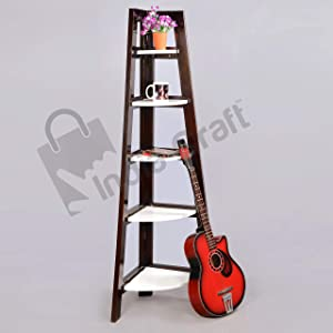 Unique Furniture 5 Tier Foldable Bamboo Ladder Shelf Multifunctional Plant Flower Display Stand Storage Rack Bookcase Bookshelf(Black and White)