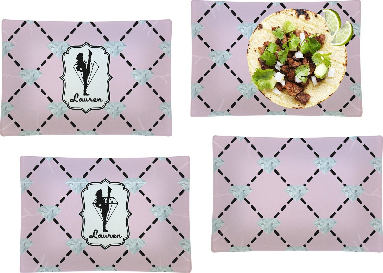 Diamond Dancers Set of 4 Rectangular Dinner Plates (Personalized)