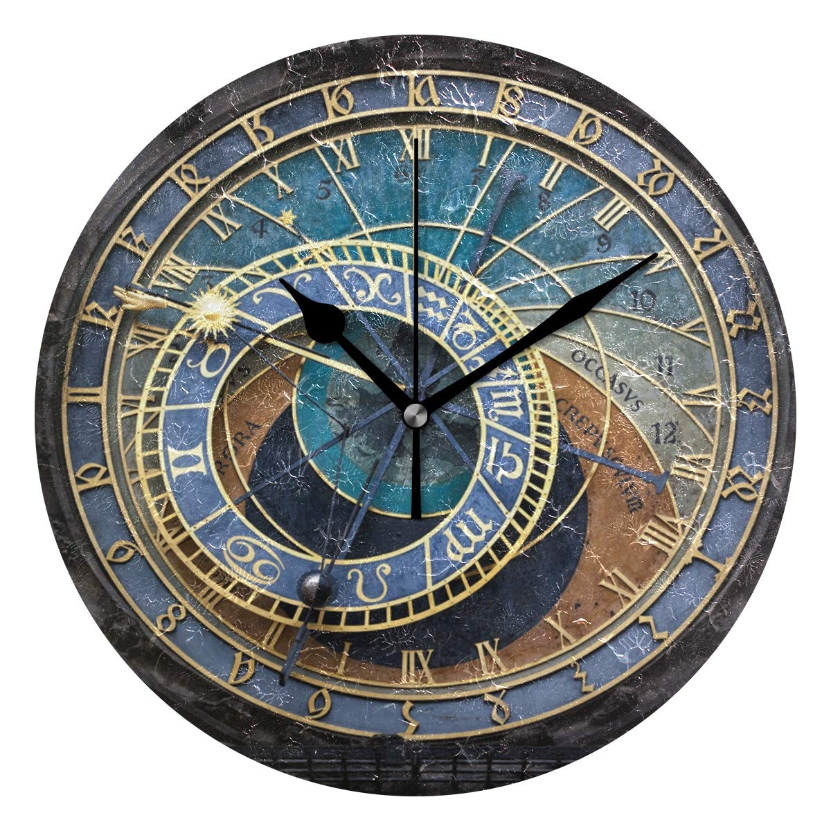 Amazon.com: LORVIES Prague Astronomical Clock Wall Clock Silent Non Ticking Acrylic Decorative 10 Inch Round Clock for Home Office School: Home & Kitchen