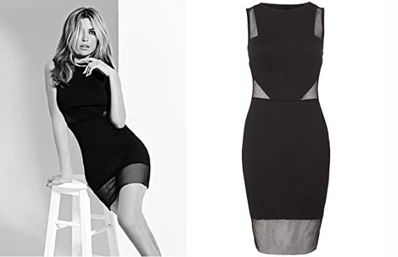 Abbey Clancy Ladies Fishnet Cut Out Midi Black Dress With Delicate