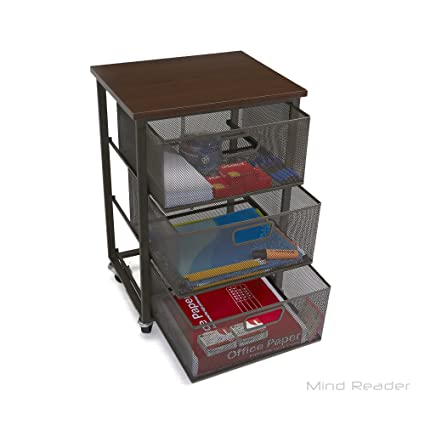 Mind Reader Rolling Storage Cart With 3 Drawers, File Storage Cart, Utility  Cart,