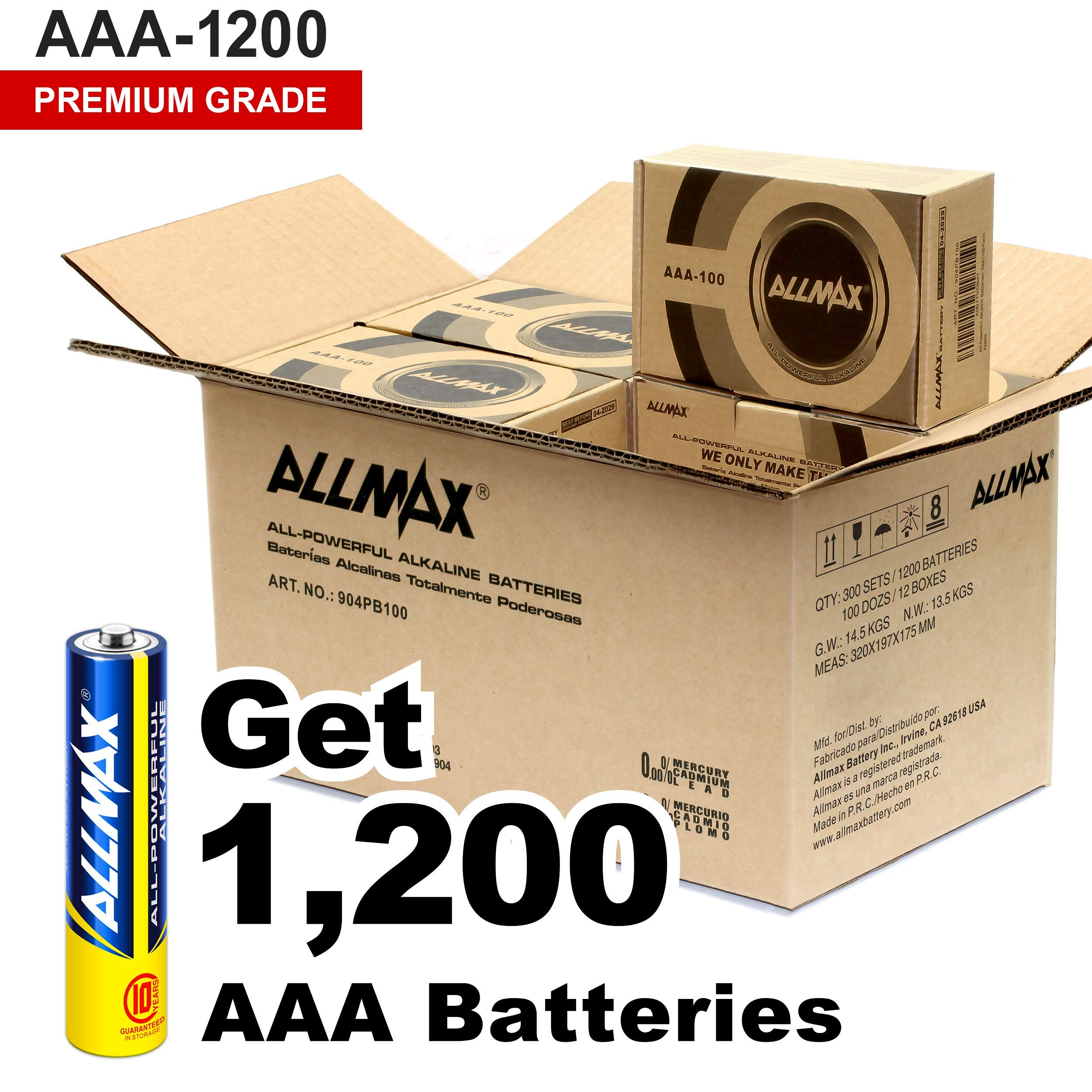 ALLMAX All-Powerful Alkaline Batteries - AAA Wholesale Pack (1200-Count) - Premium Grade, Ultra Long-Lasting and Leak Proof with EnergyCircle Technology (1.5 Volt) by ALLMAX BATTERY