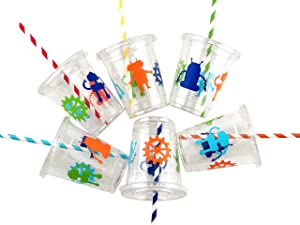 Robot Party Cups - 12ct Gear Birthday Favors for Kids Boys Plastic Lids Straws