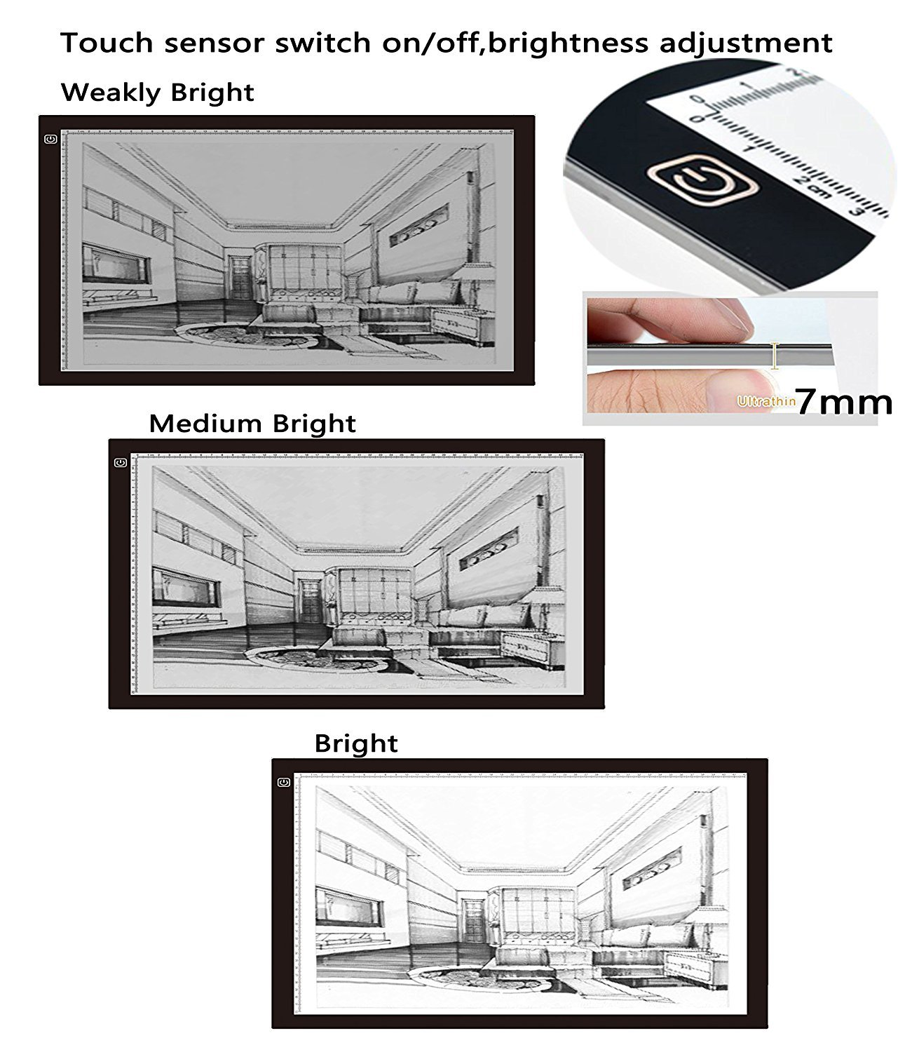British Plug Painting Tattoo Sketch Animation Photograph Designed for the Artist Super Thin A2 Light Box USB Power LED Drawing Copy Tracing Light Box Track Light with Brightness Adjustable