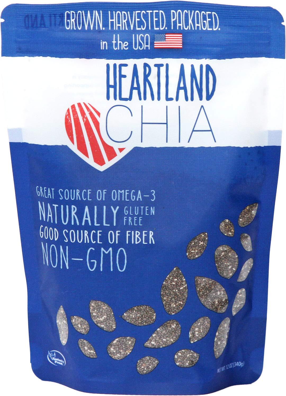Heartland Chia, USA Grown Whole Raw Black Chia Seeds, 12 oz | Sustainable, Non-GMO, Farm-direct