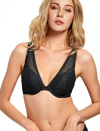 48d1a974f2ad13 DOBREVA Women s Lace Plunge X-Back Mesh Wide Straps Push Up Underwired Bra  Black 32A
