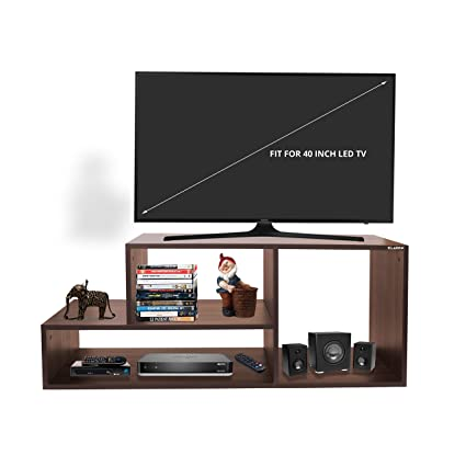 Klaxon Diamond Wooden TV Stand (Matte Finish, Walnut)