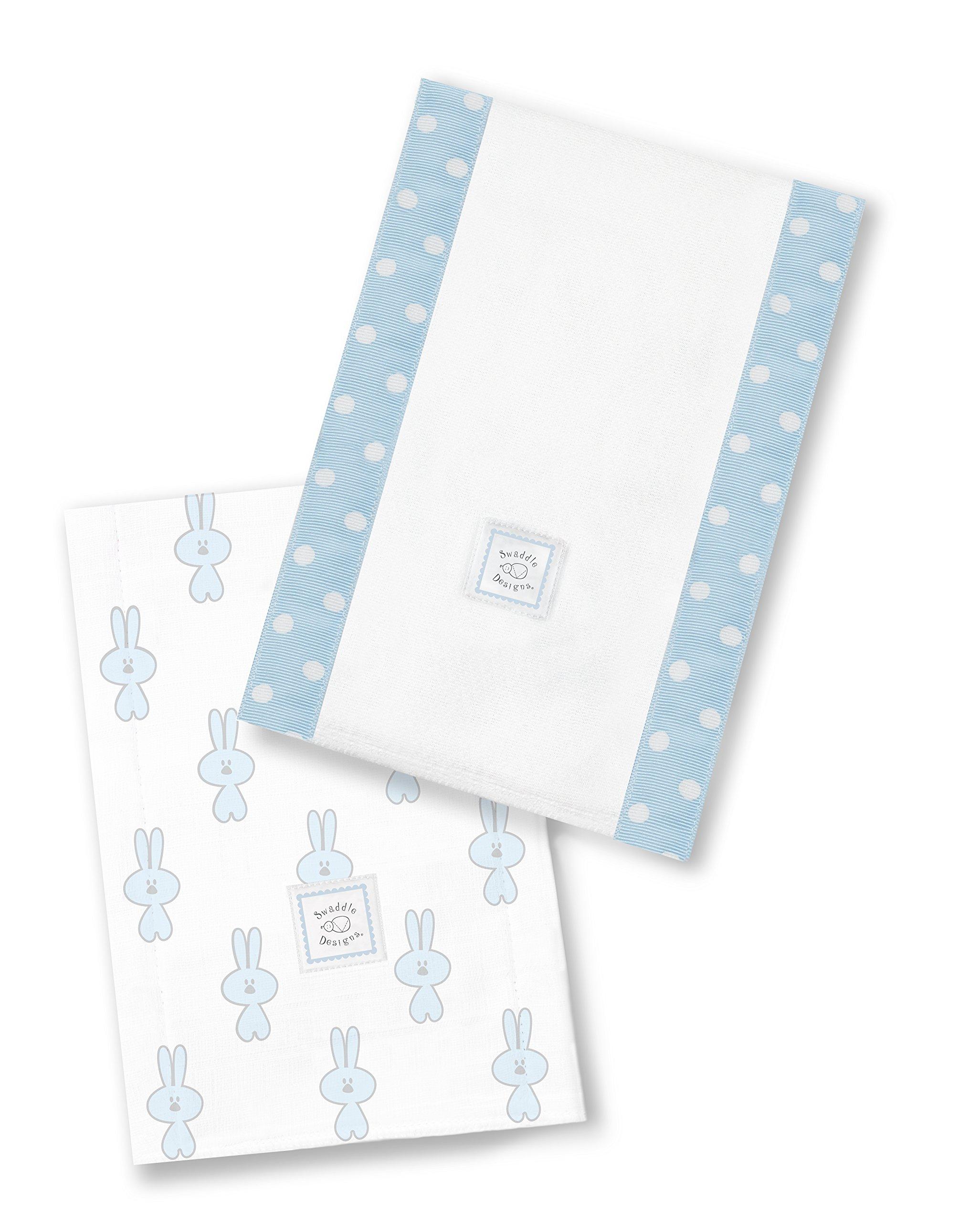 SwaddleDesigns Baby Burpies, Set of 2 Cotton Burp Cloths, Pastel Blue Little Bunnie